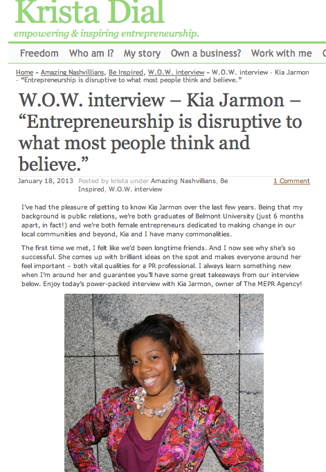 WOW Entrepreneur Interviewed Kia Jarmon